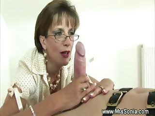 Mistress endulges herself with his hard cock