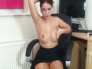 Hot ass office girl Ava striptease masturbates