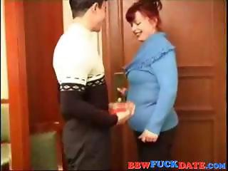 Chubby redhead eats his rod and then bends over to get banged