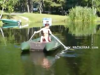 Amateur hungarian Natasha in the boat