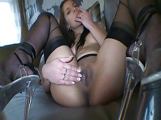 Angel Rivas in black stockings