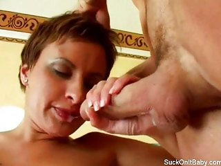 Gorgeous short haired blowjob