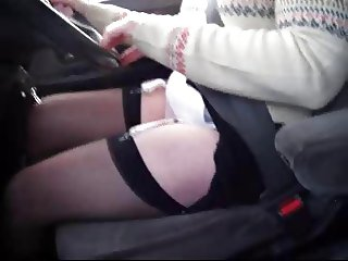 sheer panties and stockings in car