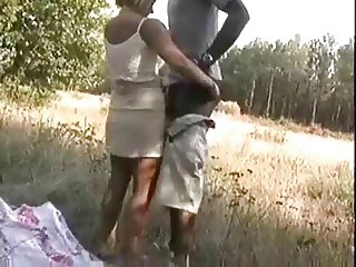 Blonde Wife fucking a african on woods