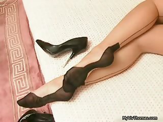 Sexy babe on black stockings getting part2