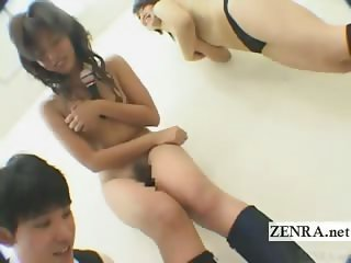 Subtitled Japan college students penalty sex game strip