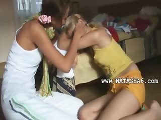 Kissing and masturbating of two girls