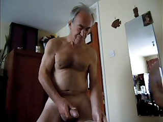 guy delighted wanking jerking naked to cum