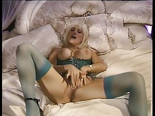 Lusty lonely blonde masturbates at home alone using fingers and toys
