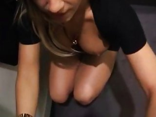 German blonde with boyfriend in dressing room
