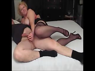 nasty auntie footjob