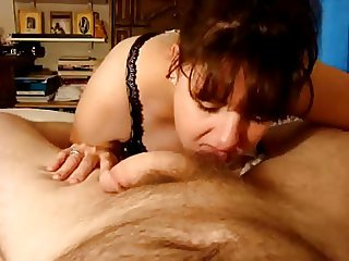 Big tits milf cum in mouth and swallow