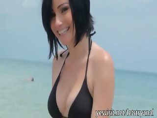 Hot bikini girlfriend stuffed hard in her butt for the first time