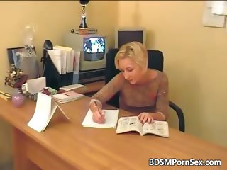 Two robbers caught blonde secretary part2