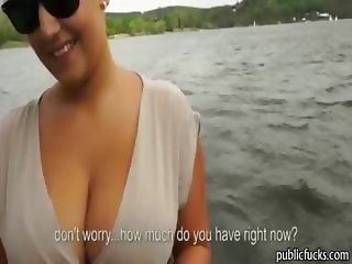 Massive boobed blonde amateur slut public blowjob for cash