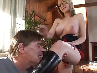 Hot blonde makes old man lick her boots