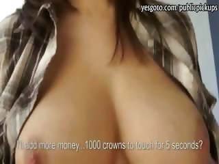 Czech girl flashes her big tits and stuffed for money