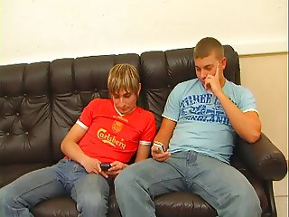 Redhead mom in stockings fucked with two guys