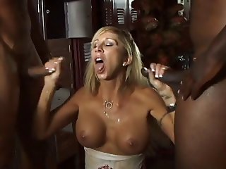 Morgan Ray sucks two black cocks in bathroom and gets face and chest jizzed