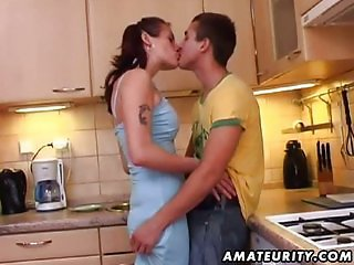 Young amateur couple homemade action with cum