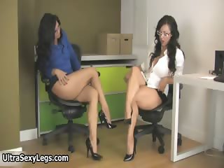 Hot busty brunette babes sitting part2