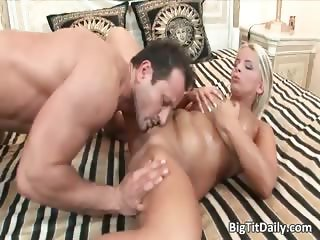 Caucasian blonde babe with big tits suck part1