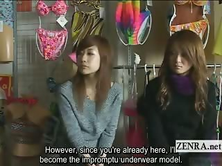 Subtitled amused Japanese amateurs view crazy CFNM show