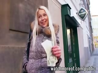 Gorgeous busty euro chick fucks for cash