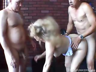 Sexy old spunker gets spit roasted