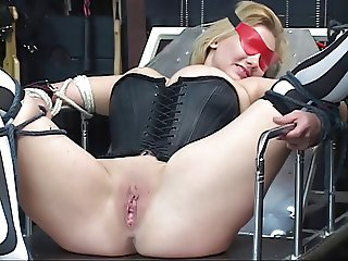 Sexy, curvy blonde gets bound, has her pussy toyed