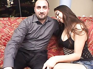 Baby-faced juicy booty Latina ravaged by older cock on the couch
