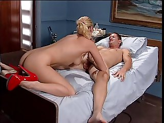 Cute nurse with a hot rack banged on the bed