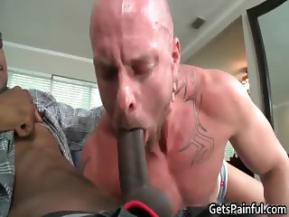 Muscular white stud sucks enormous black part5