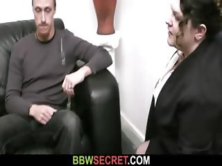 His wife leaves and BBW seduces him
