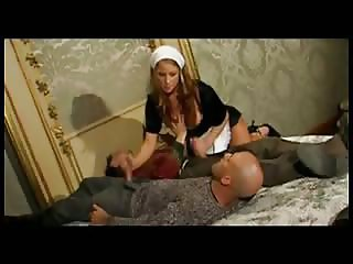 Blonde maid takes two cocks