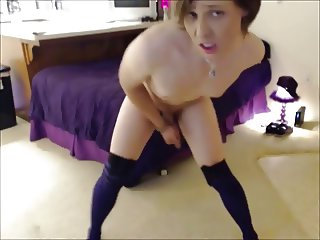 Cute Tranny Dances , Strips & Masturbates For You