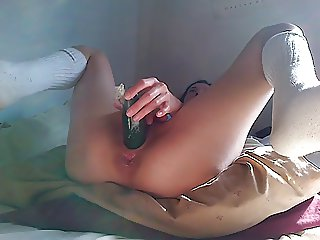 hot asian girlfriend masturbating with cucumber