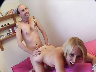 British slut Sandie Caine in a FMM threesome