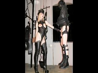 Blonde domina into leather boots