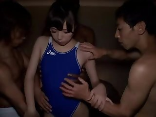 Jap Teen Swimsuit #rec grabbed massage oil by 3men #part1