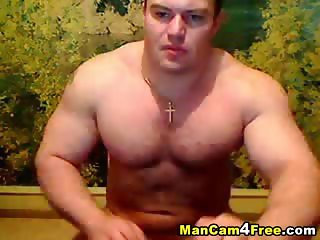 Muscular Toned Guy Jerking Off