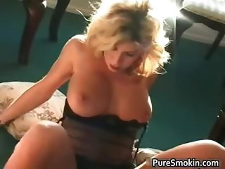 Awesome blonde honey smokes cigarette part4