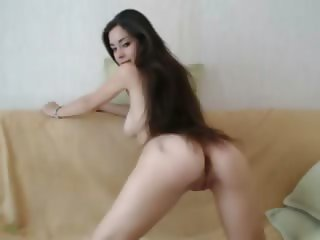 Long haired busty on live show