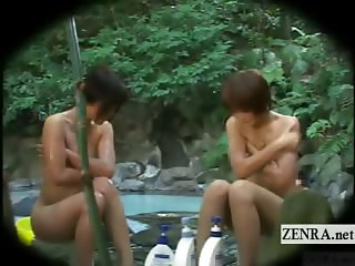 Subtitled Japanese ENF outdoor bathhouse mixed bathing