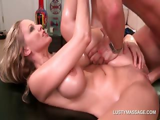 Blonde gets real slutty with her horny masseur