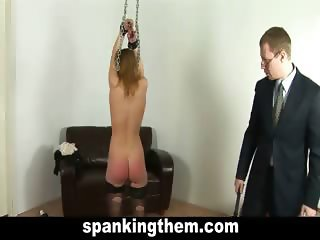 Spanked hard by her boss