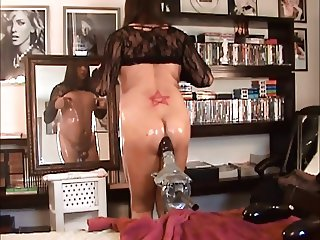 Hot Crossdresser Rides Monster Dildo and Cumshot
