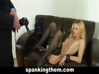 Hard spanking for blonde sweetie