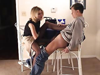 Brandi gives Nylon Handjob