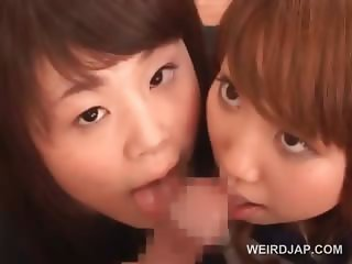 Two asian school girls learning to share dick in threesome